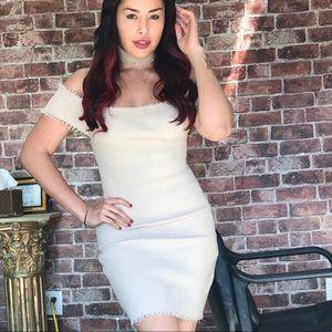 Creme stretchy dress